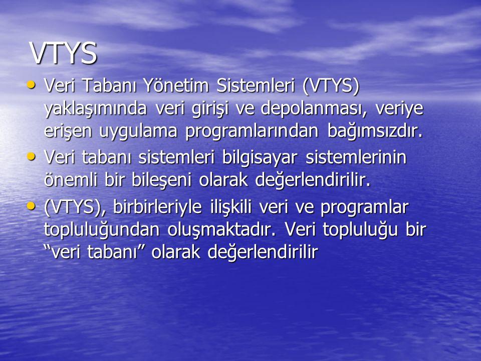 VTYS Veri Tabanı Yönetim Sistemleri (VTYS) yaklaşımında veri girişi ve depolanması, veriye erişen uygulama programlarından bağımsızdır.