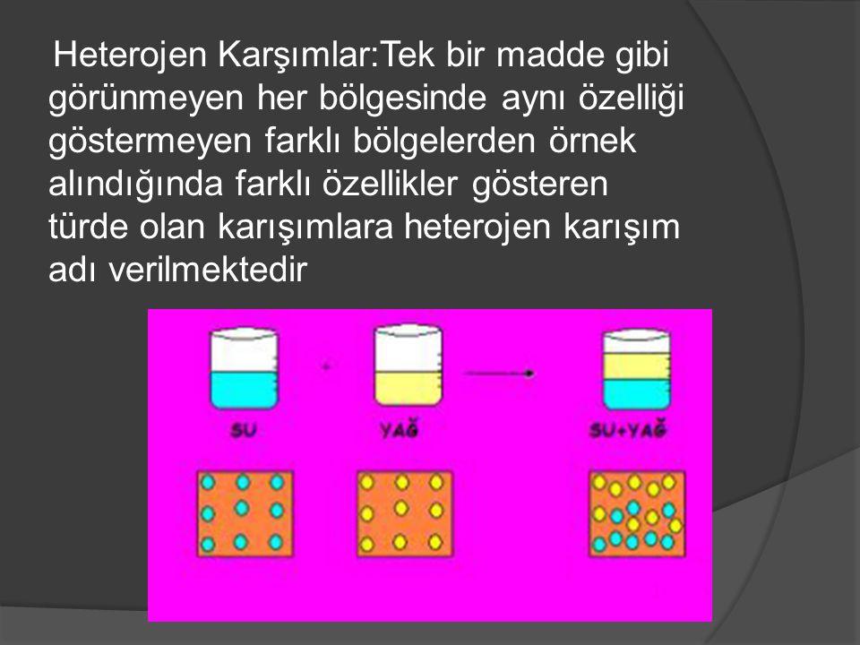 Heterojen Karşımlar:Tek bir madde gibi görünmeyen her bölgesinde aynı özelliği göstermeyen farklı bölgelerden örnek alındığında farklı özellikler gösteren türde olan karışımlara heterojen karışım adı verilmektedir
