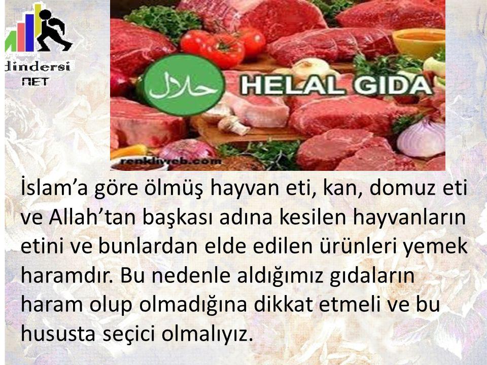 İslam'a göre ölmüş hayvan eti, kan, domuz eti ve Allah'tan başkası adına kesilen hayvanların etini ve bunlardan elde edilen ürünleri yemek haramdır.