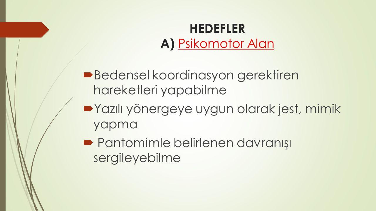 HEDEFLER A) Psikomotor Alan