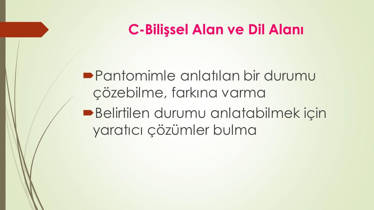 C-Bilişsel Alan ve Dil Alanı