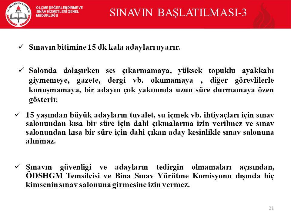SINAVIN BAŞLATILMASI-3