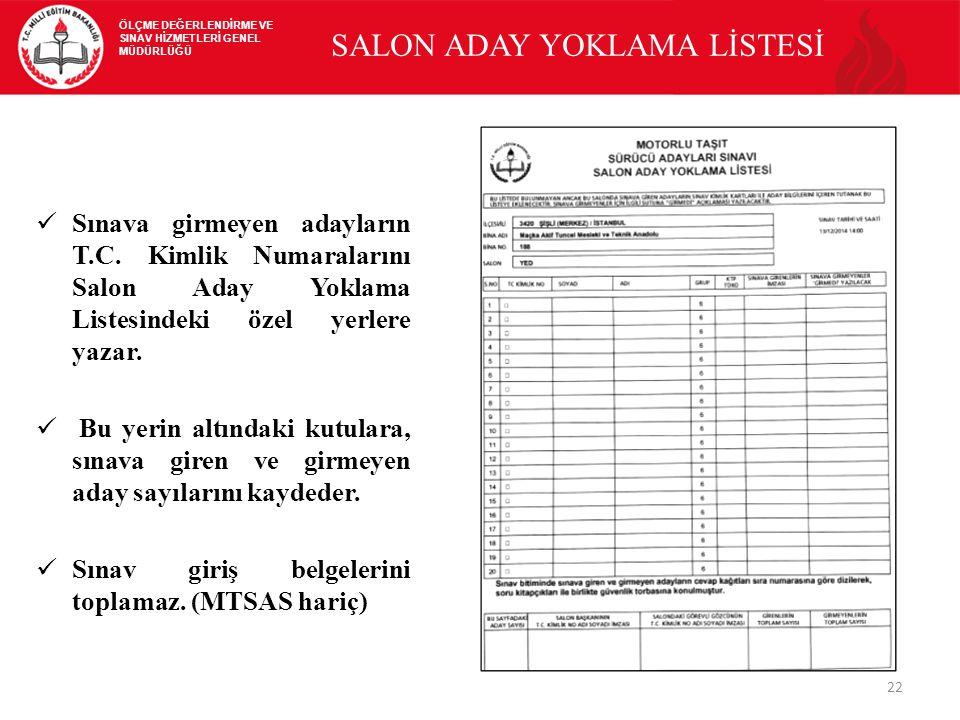 SALON ADAY YOKLAMA LİSTESİ