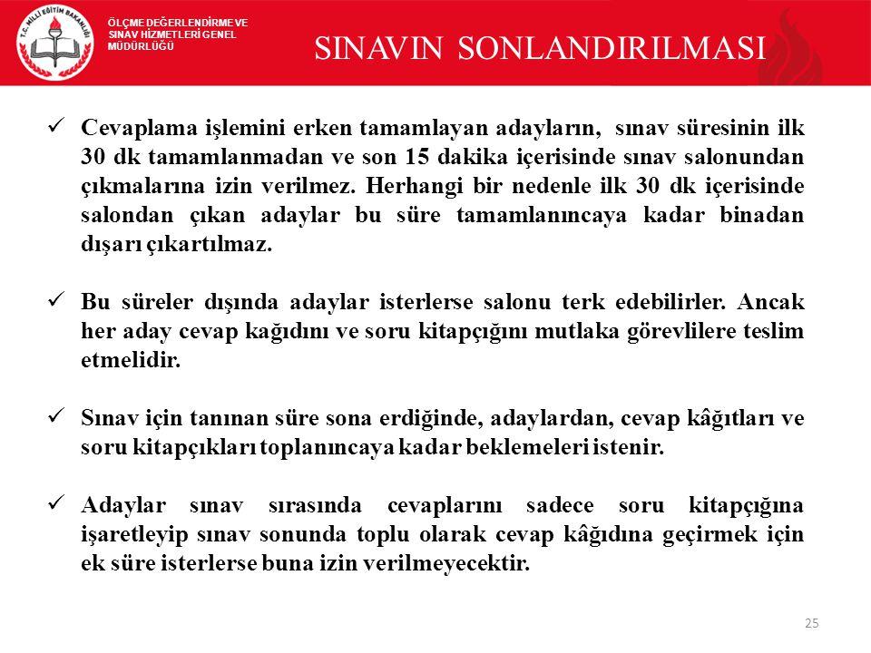 SINAVIN SONLANDIRILMASI
