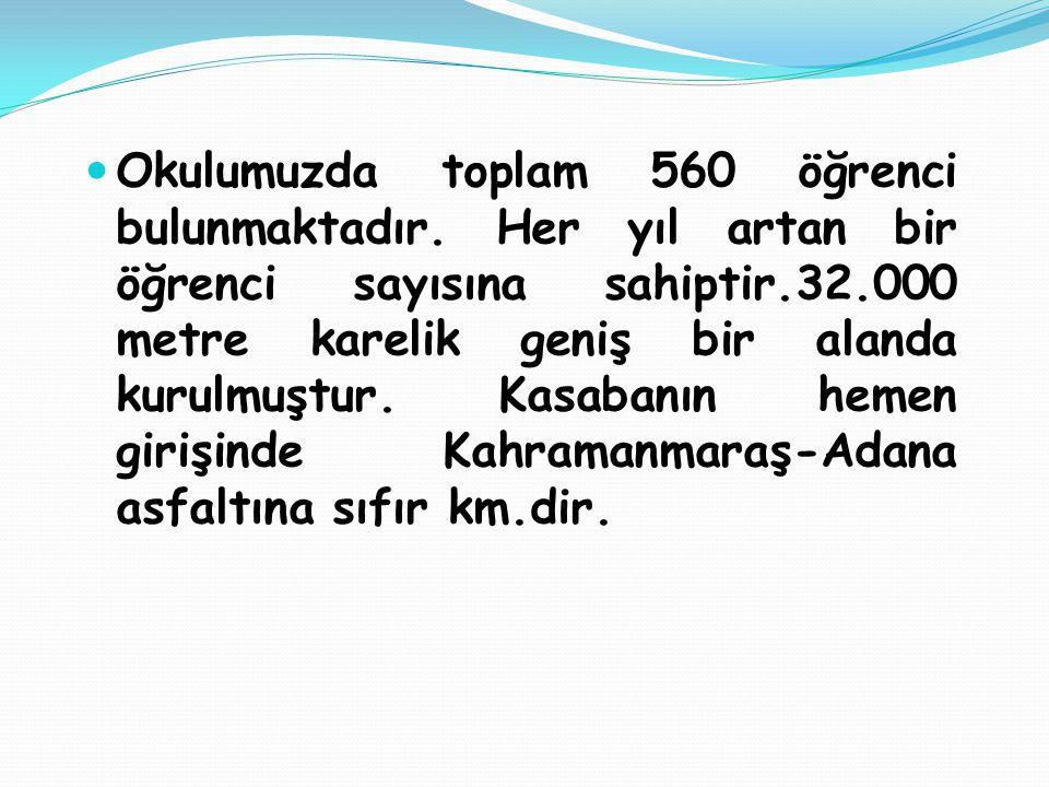 Okulumuzda toplam 560 öğrenci bulunmaktadır