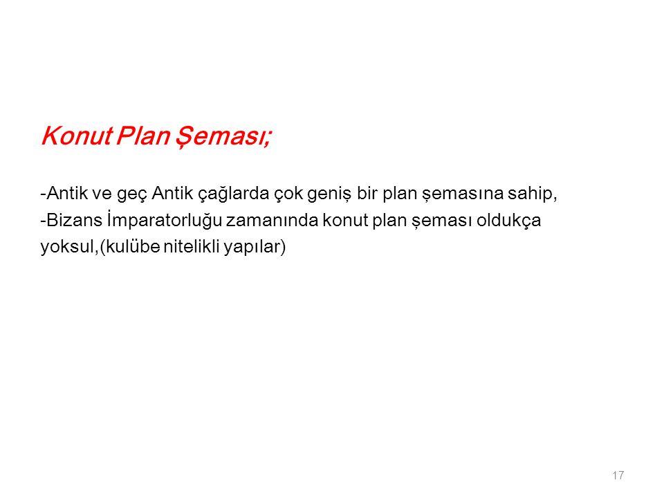 Konut Plan Şeması; -Antik ve geç Antik çağlarda çok geniş bir plan şemasına sahip, -Bizans İmparatorluğu zamanında konut plan şeması oldukça.