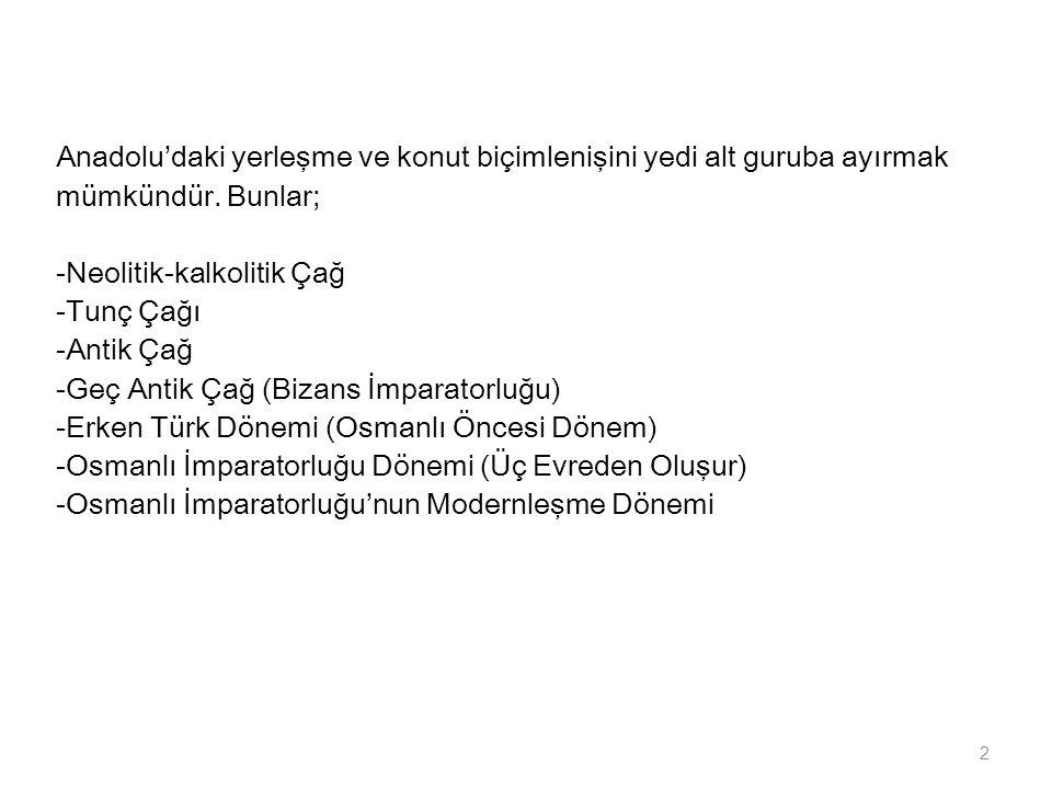 Anadolu'daki yerleşme ve konut biçimlenişini yedi alt guruba ayırmak mümkündür.