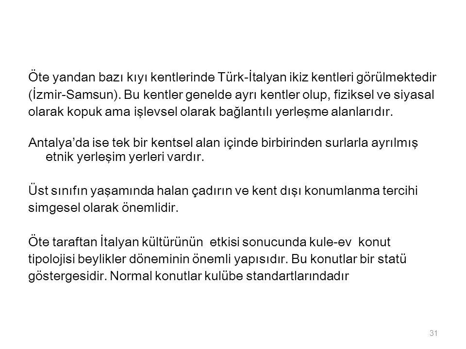 Öte yandan bazı kıyı kentlerinde Türk-İtalyan ikiz kentleri görülmektedir (İzmir-Samsun).