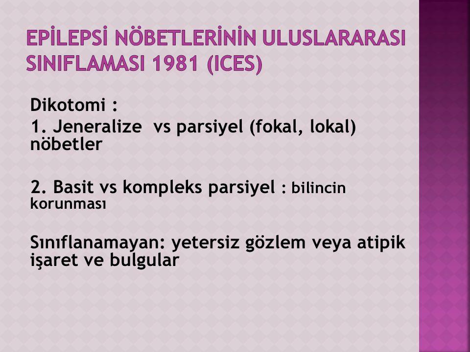 Epİlepsİ nöbetlerİnİn uluslararAsI sINIFLAMASI 1981 (ICES)