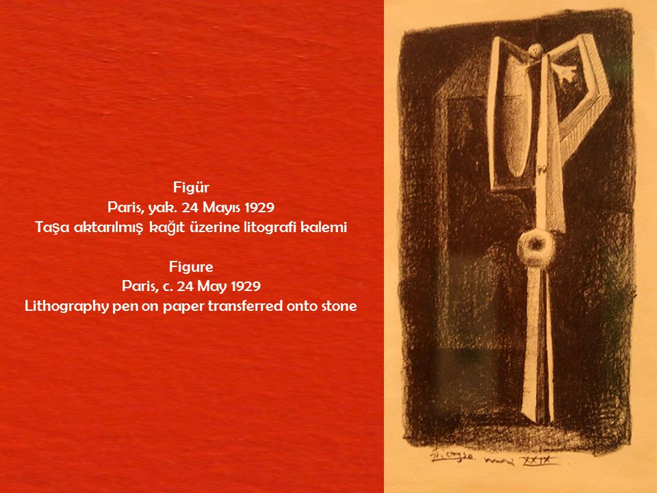 Taşa aktarılmış kağıt üzerine litografi kalemi Figure