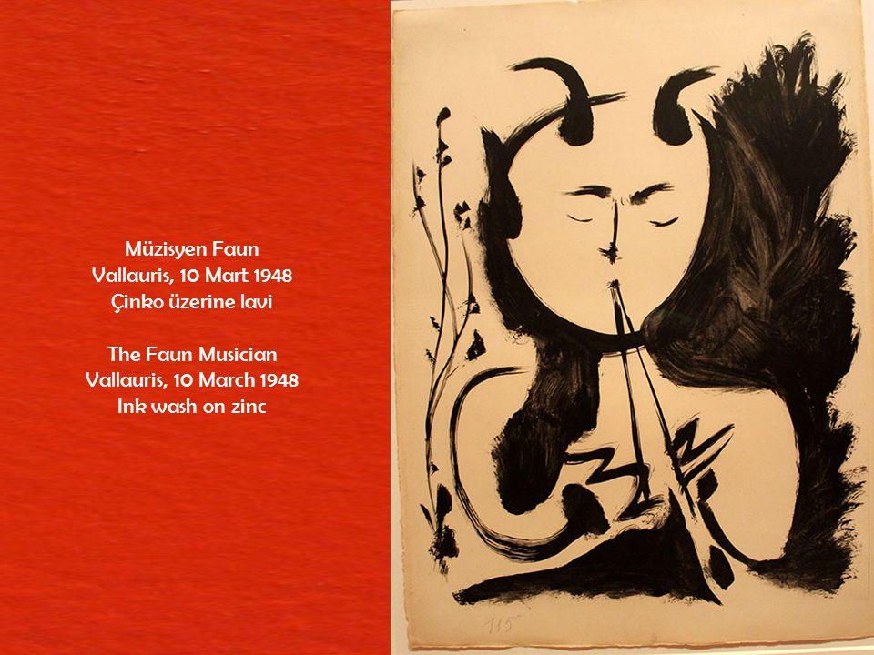 Müzisyen Faun Vallauris, 10 Mart 1948. Çinko üzerine lavi. The Faun Musician. Vallauris, 10 March 1948.