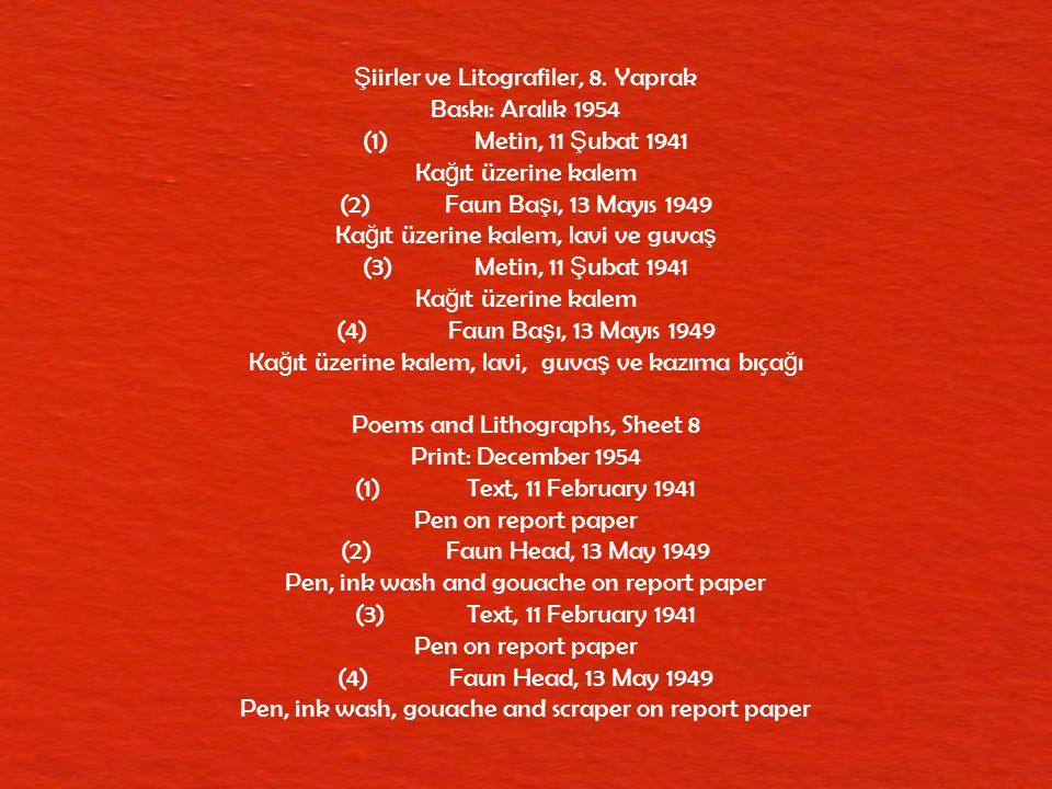 Şiirler ve Litografiler, 8. Yaprak Baskı: Aralık 1954