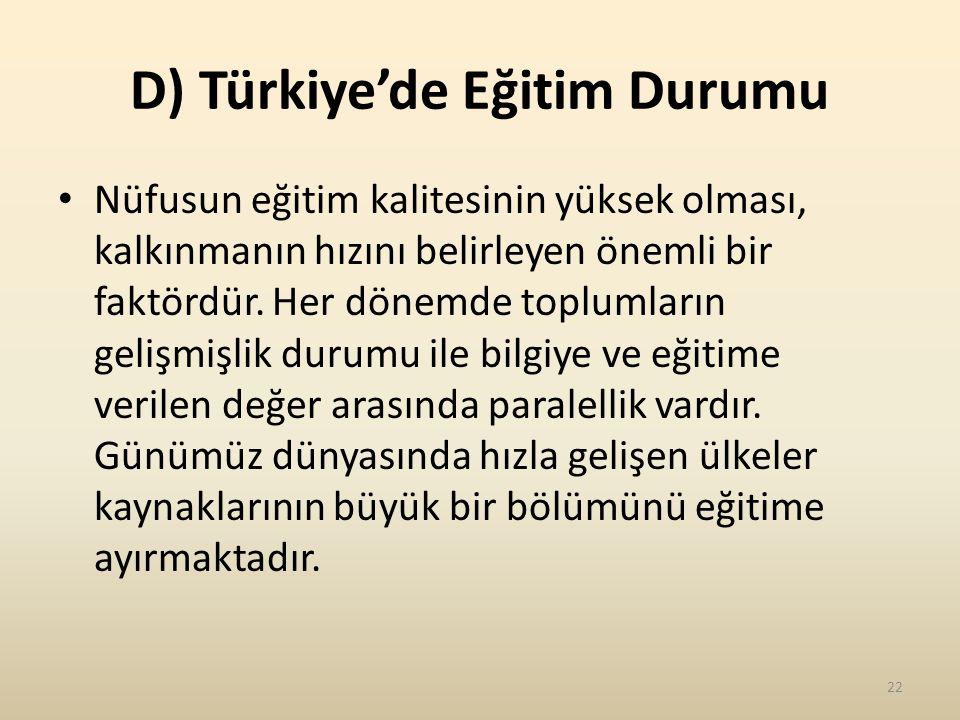 D) Türkiye'de Eğitim Durumu
