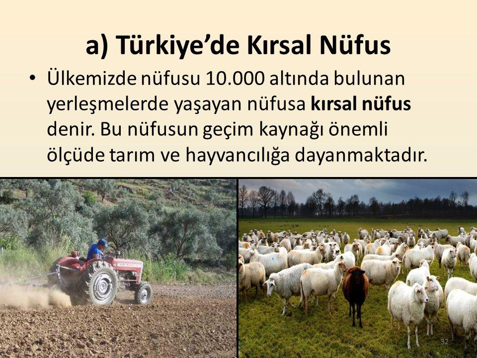 a) Türkiye'de Kırsal Nüfus