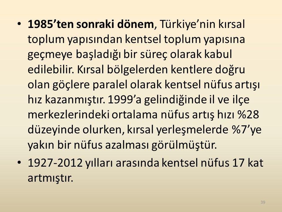 1985'ten sonraki dönem, Türkiye'nin kırsal toplum yapısından kentsel toplum yapısına geçmeye başladığı bir süreç olarak kabul edilebilir. Kırsal bölgelerden kentlere doğru olan göçlere paralel olarak kentsel nüfus artışı hız kazanmıştır. 1999'a gelindiğinde il ve ilçe merkezlerindeki ortalama nüfus artış hızı %28 düzeyinde olurken, kırsal yerleşmelerde %7'ye yakın bir nüfus azalması görülmüştür.