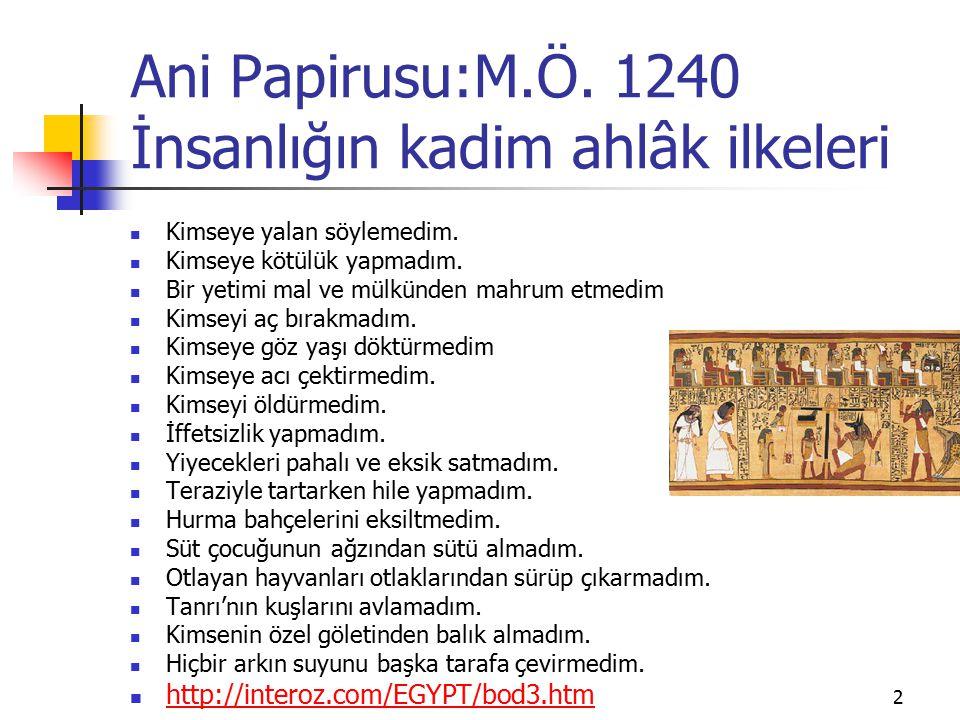 Ani Papirusu:M.Ö. 1240 İnsanlığın kadim ahlâk ilkeleri