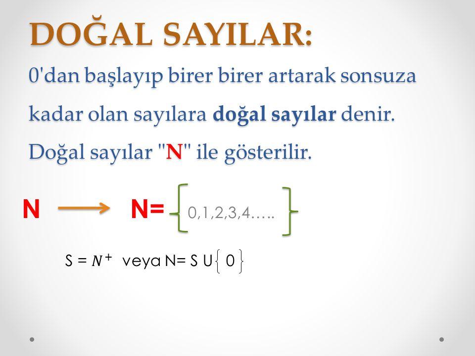 DOĞAL SAYILAR: 0 dan başlayıp birer birer artarak sonsuza kadar olan sayılara doğal sayılar denir. Doğal sayılar N ile gösterilir.