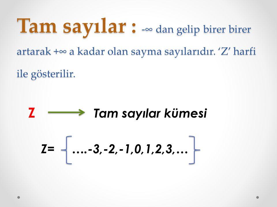 Tam sayılar : -∞ dan gelip birer birer artarak +∞ a kadar olan sayma sayılarıdır. 'Z' harfi ile gösterilir.
