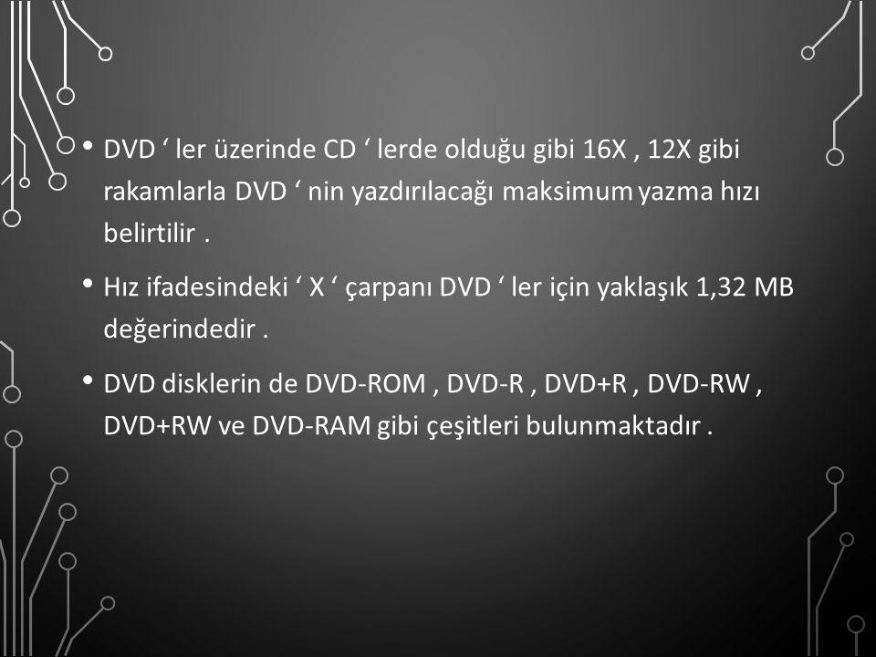 DVD ' ler üzerinde CD ' lerde olduğu gibi 16X , 12X gibi rakamlarla DVD ' nin yazdırılacağı maksimum yazma hızı belirtilir .