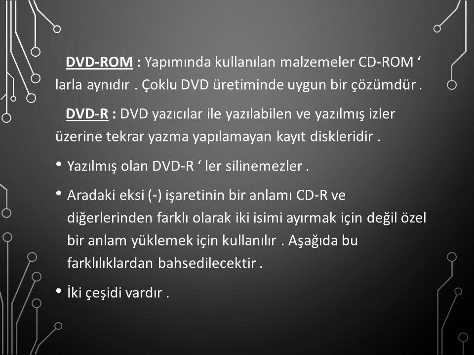 DVD-ROM : Yapımında kullanılan malzemeler CD-ROM ' larla aynıdır