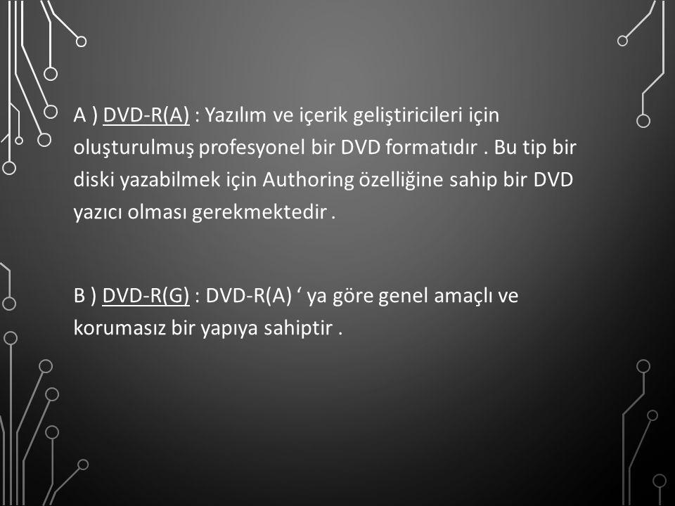 A ) DVD-R(A) : Yazılım ve içerik geliştiricileri için oluşturulmuş profesyonel bir DVD formatıdır .
