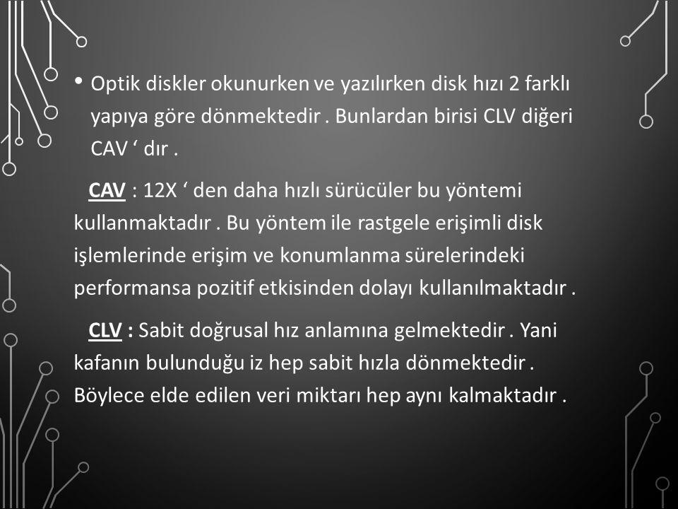 Optik diskler okunurken ve yazılırken disk hızı 2 farklı yapıya göre dönmektedir . Bunlardan birisi CLV diğeri CAV ' dır .