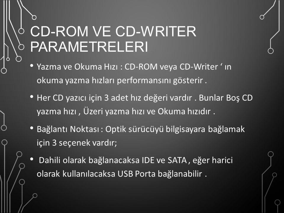 CD-ROM ve CD-Writer Parametreleri