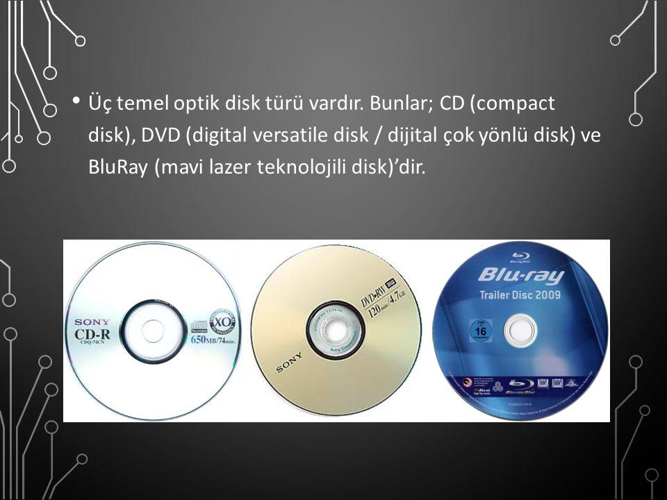 Üç temel optik disk türü vardır