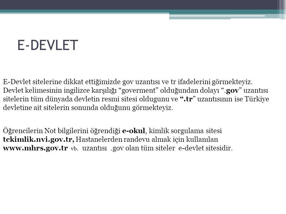 E-DEVLET E-Devlet sitelerine dikkat ettiğimizde gov uzantısı ve tr ifadelerini görmekteyiz.