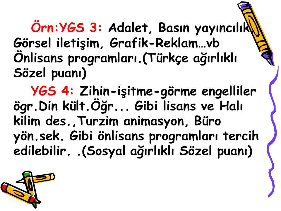 Örn:YGS 3: Adalet, Basın yayıncılık, Görsel iletişim, Grafik-Reklam…vb Önlisans programları.(Türkçe ağırlıklı Sözel puanı)