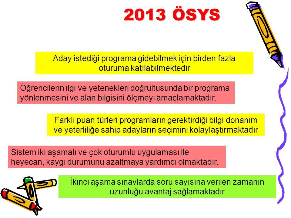 2013 ÖSYS Aday istediği programa gidebilmek için birden fazla oturuma katılabilmektedir.