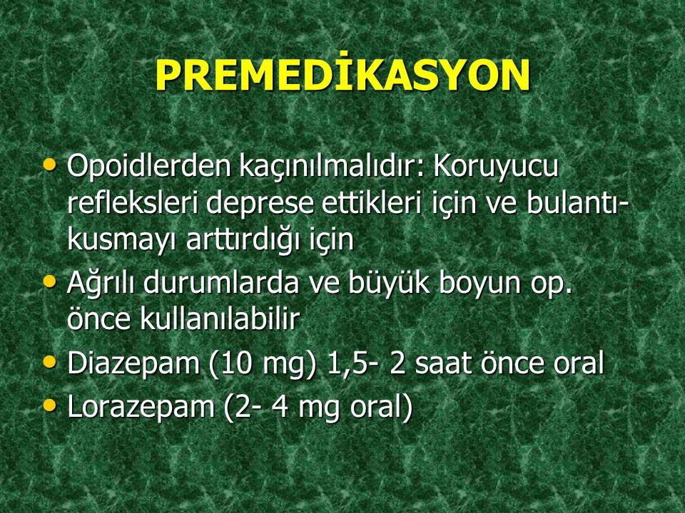 PREMEDİKASYON Opoidlerden kaçınılmalıdır: Koruyucu refleksleri deprese ettikleri için ve bulantı-kusmayı arttırdığı için.
