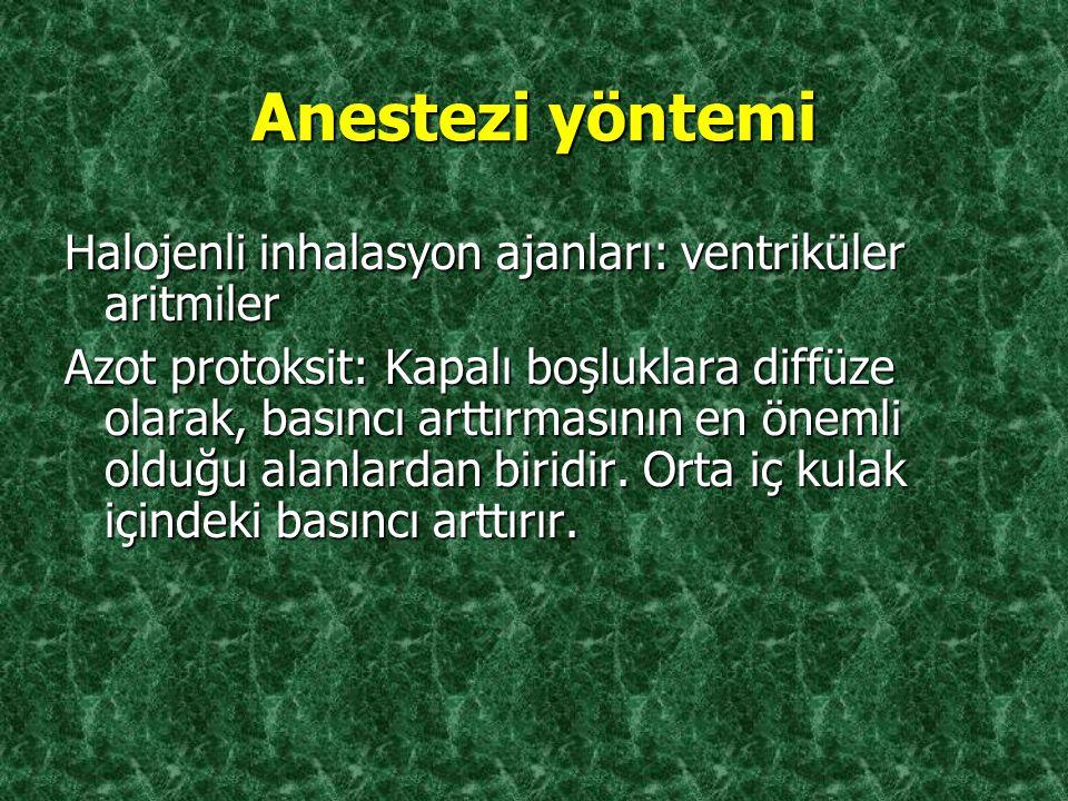 Anestezi yöntemi Halojenli inhalasyon ajanları: ventriküler aritmiler
