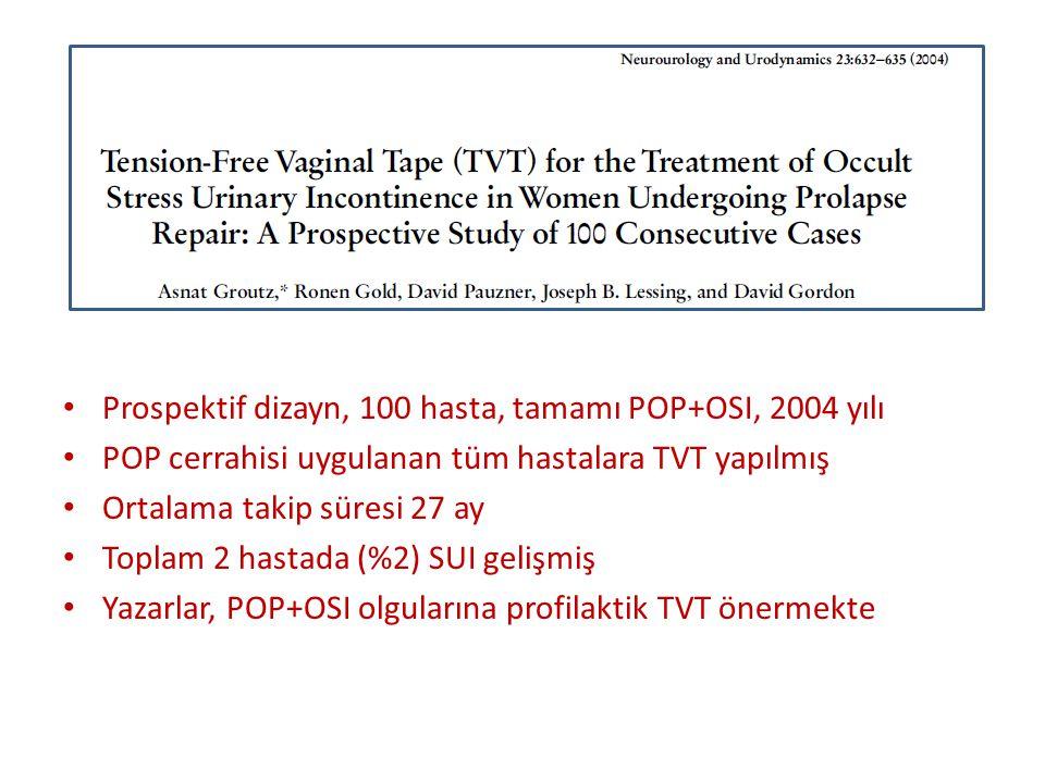 Prospektif dizayn, 100 hasta, tamamı POP+OSI, 2004 yılı