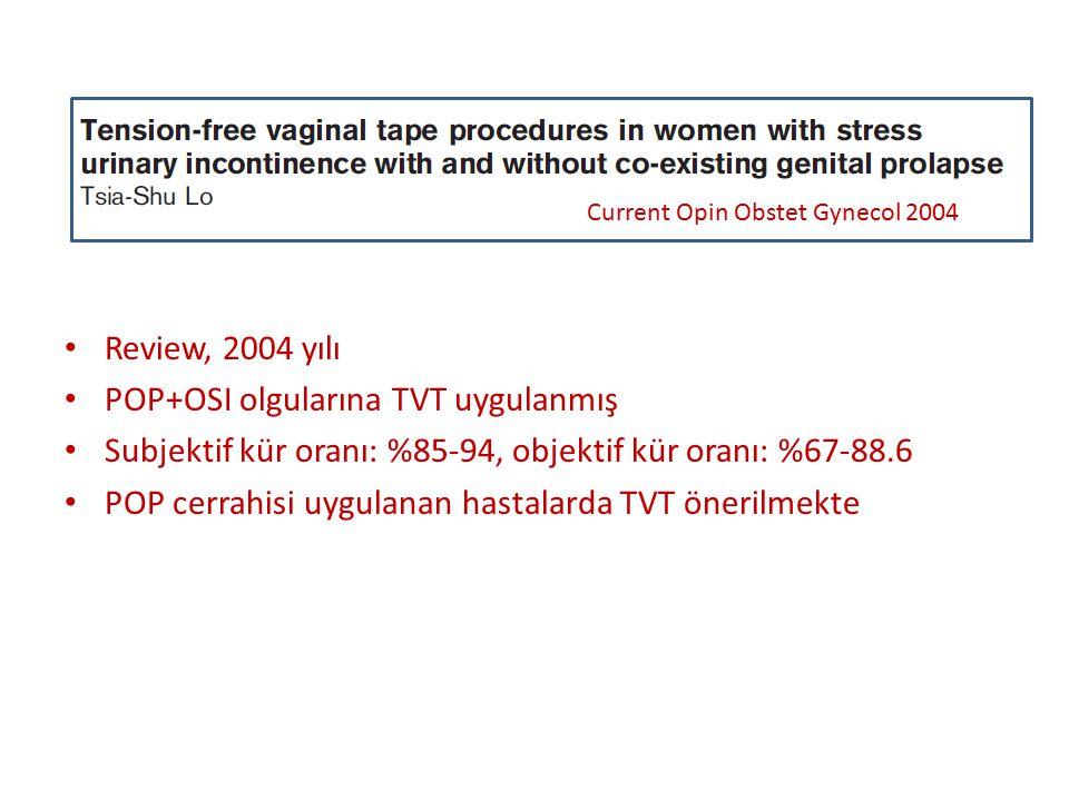 POP+OSI olgularına TVT uygulanmış