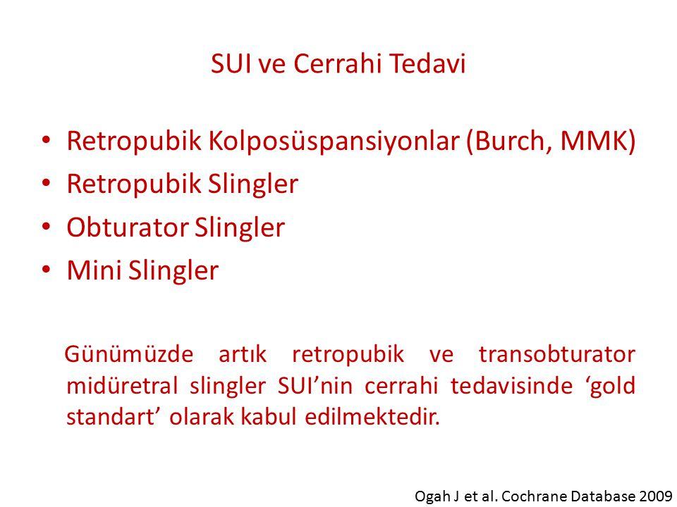 Retropubik Kolposüspansiyonlar (Burch, MMK) Retropubik Slingler