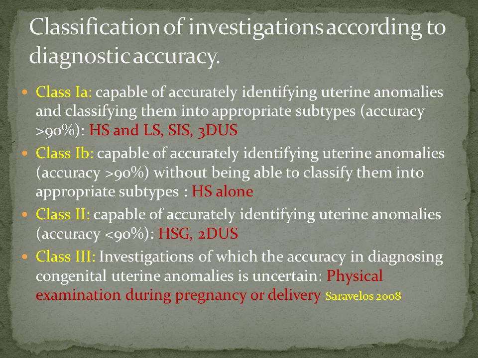 Classification of investigations according to diagnostic accuracy.