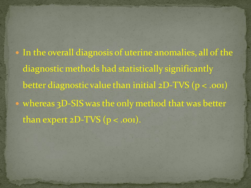 In the overall diagnosis of uterine anomalies, all of the diagnostic methods had statistically significantly better diagnostic value than initial 2D-TVS (p < .001)