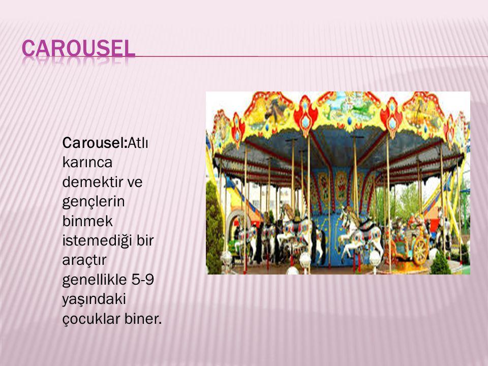 carousel Carousel:Atlı karınca demektir ve gençlerin binmek istemediği bir araçtır genellikle 5-9 yaşındaki çocuklar biner.