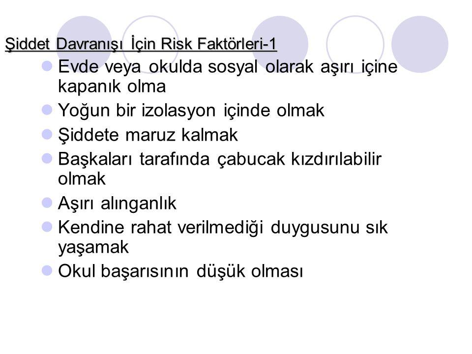Şiddet Davranışı İçin Risk Faktörleri-1