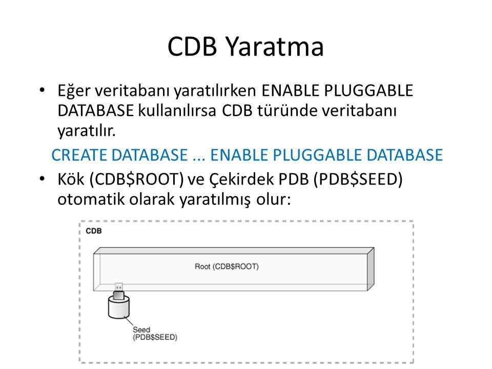 CDB Yaratma Eğer veritabanı yaratılırken ENABLE PLUGGABLE DATABASE kullanılırsa CDB türünde veritabanı yaratılır.