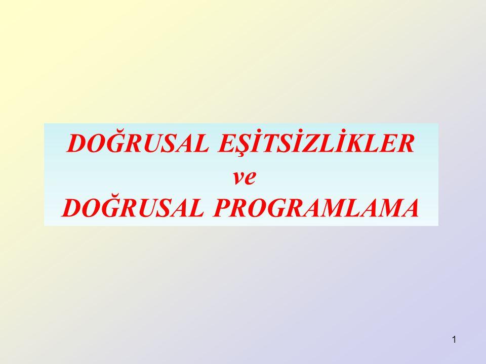 DOĞRUSAL EŞİTSİZLİKLER