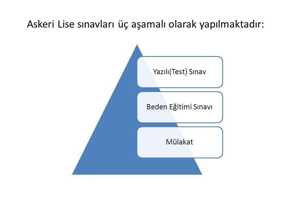 Askeri Lise sınavları üç aşamalı olarak yapılmaktadır: