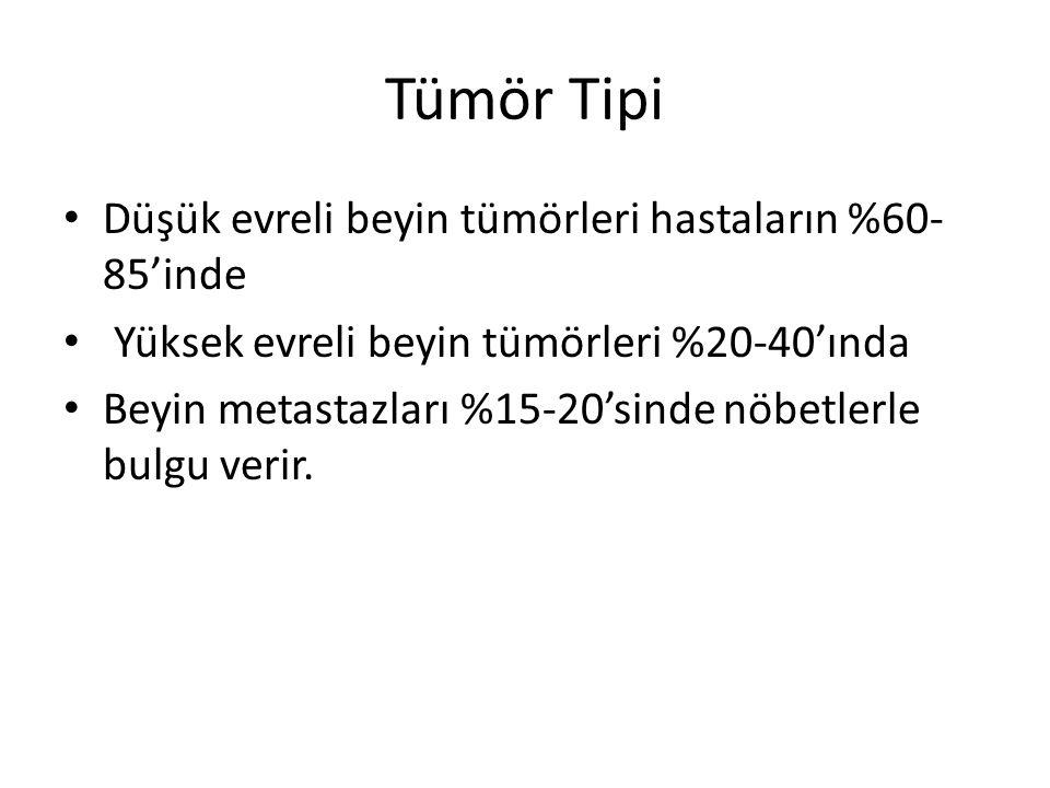 Tümör Tipi Düşük evreli beyin tümörleri hastaların %60-85'inde