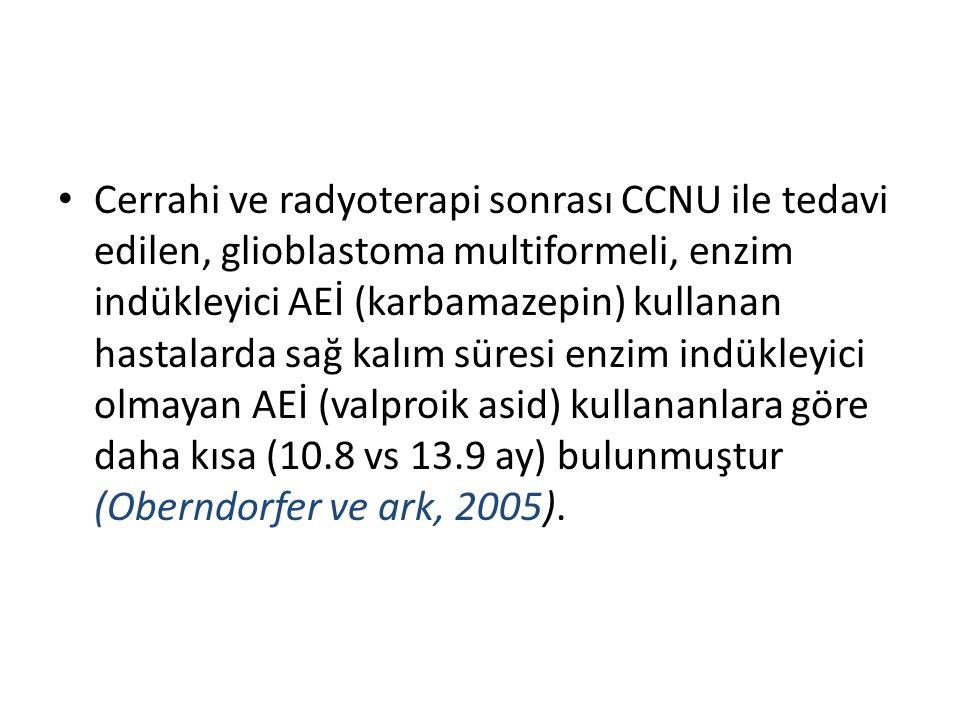 Cerrahi ve radyoterapi sonrası CCNU ile tedavi edilen, glioblastoma multiformeli, enzim indükleyici AEİ (karbamazepin) kullanan hastalarda sağ kalım süresi enzim indükleyici olmayan AEİ (valproik asid) kullananlara göre daha kısa (10.8 vs 13.9 ay) bulunmuştur (Oberndorfer ve ark, 2005).