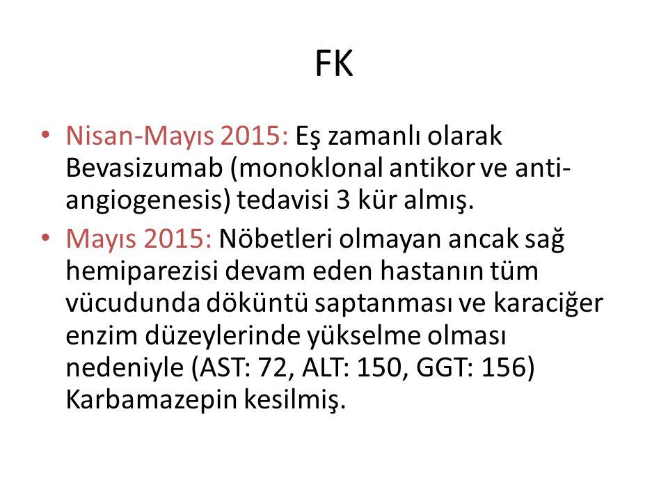 FK Nisan-Mayıs 2015: Eş zamanlı olarak Bevasizumab (monoklonal antikor ve anti-angiogenesis) tedavisi 3 kür almış.