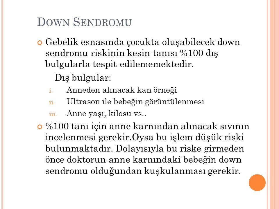 Down Sendromu Gebelik esnasında çocukta oluşabilecek down sendromu riskinin kesin tanısı %100 dış bulgularla tespit edilememektedir.