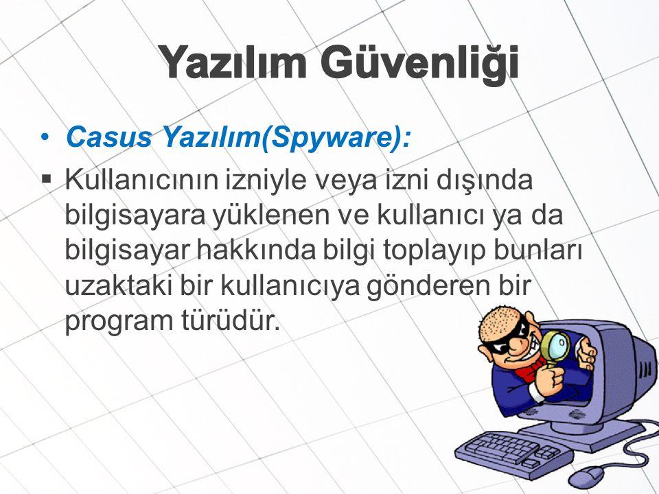 Yazılım Güvenliği Casus Yazılım(Spyware):