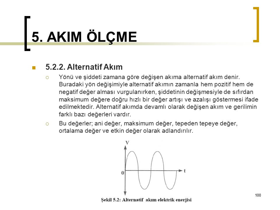 5. AKIM ÖLÇME 5.2.2. Alternatif Akım