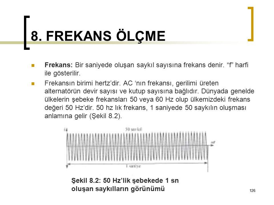 8. FREKANS ÖLÇME Frekans: Bir saniyede oluşan saykıl sayısına frekans denir. f harfi ile gösterilir.
